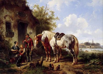 Verschuur Wouterus Landscape with two horses Sun