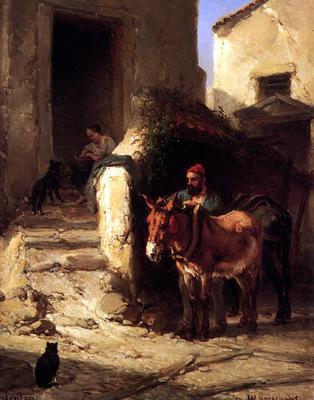 Verschuur Wouterus Man with a donkey in Menton Sun