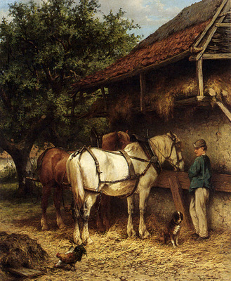 Verschuur Wouterus Two Horses By A Stable