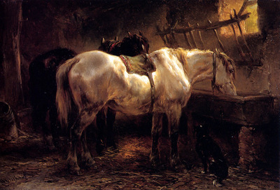 Verschuur Wouterus Two horses in a stable Sun