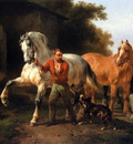 Verschuur Wouterus At the watering trough Sun
