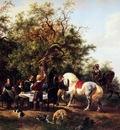 Verschuur Wouterus Resting horsemen Sun