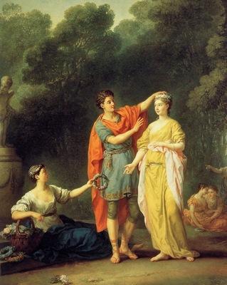Joseph Marie Vien Jeune Grec couronnant sa bien aimee de fl