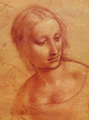 Leonardo Head of a Woman, Drawing, Musee Bonnat, Bayonne