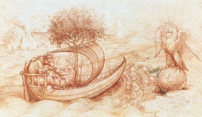 Leonardo da Vinci Allegory with wolf and eagle