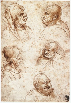 Leonardo da Vinci Five caricature heads