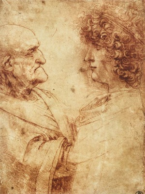 Leonardo da Vinci Heads of an old man and a youth