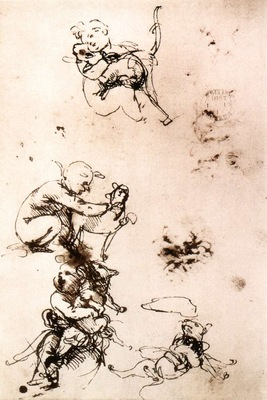 Leonardo da Vinci Study of a child with a cat facsimile