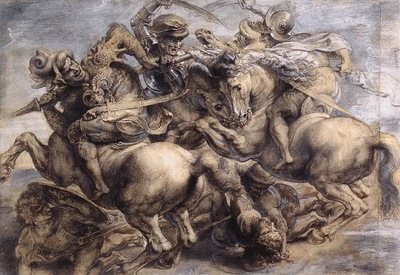 Leonardo da Vinci The Battle of Anghiari Rubens detail1