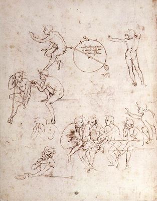 Leonardo da Vinci Various figure studies