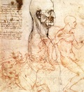 Leonardo da Vinci Profile of a man and study of two riders