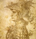 Leonardo da Vinci Profile of a warrior in helmet