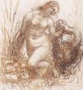 Leonardo da Vinci Study for a kneeling Leda