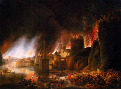 Vlieger de Simon The burning of Troye Sun