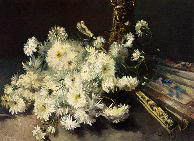 Vogels Guillaume A Still Life With Chrysanthemums And A Fan