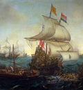 Vroom Hendrick Ships at sea Sun