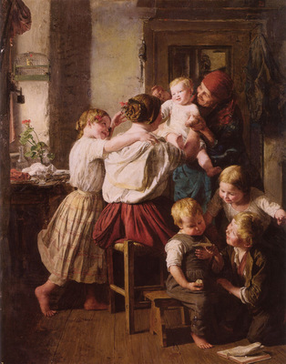 Children Making Their Grandmother a Present on Her Name Day