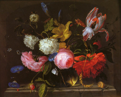 Walscapelle Jacob A Still Life Of Roses, Irises, Carnations, Daffodils, Parrot Tulips An Other Fl