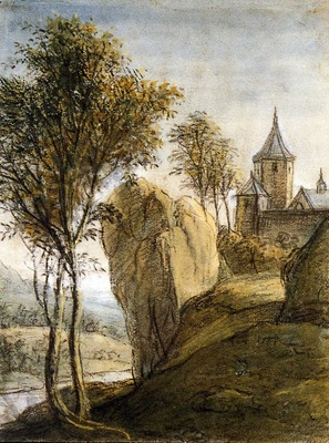 Waterloo Anthonie Mountainous landscape with castle on rock
