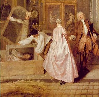 Watteau Geraints shopsign, 163x308 cm, Detalj, Charlottenbu
