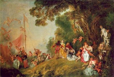 Watteau Pilgrimage to Cythera, 129x194 cm, Charlottenburg Pa