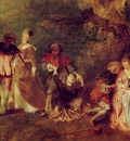 Watteau The Embarkation for Cythera, 1717, Detalj, 129x194 c
