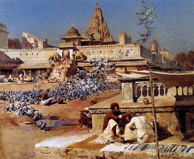 Weeks Edwin Feeding The Sacred Pigeons Jaipur