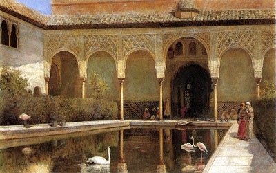 Weeks Edwin Lord A Court in The Alhambra in the Time of the Moors