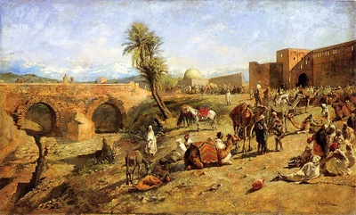 Weeks Edwin Lord Arrival of a Caravan Outside The City of Morocco