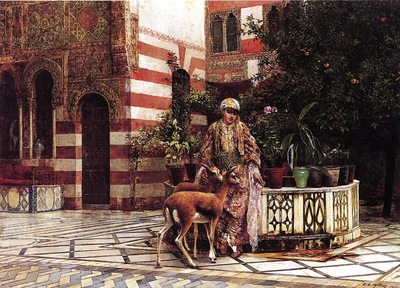 Weeks Edwin Lord Girl in a Moorish Courtyard