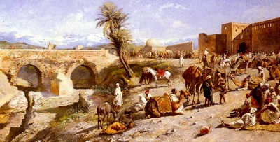 Weeks Edwin Lord The Arrival Of A Caravan Outside Marakesh