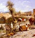 Weeks Edwin Lord The Arrival Of A Caravan Outside Marakesh