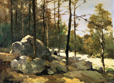 Weissenbruch Hendrik Forest view at Barbizon Sun