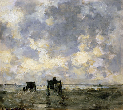 Weissenbruch Hendrik Johannes Shell carts on the beach Sun