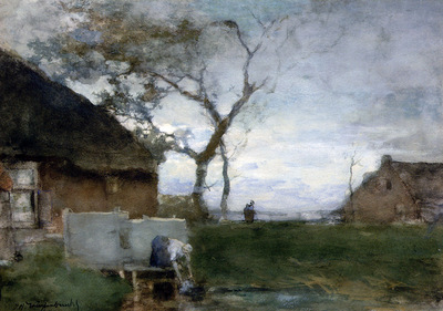Weissenbruch Hendrik Johannes The washing place Sun