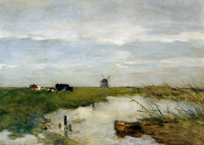 Weissenbruch Jan Dutch polder landscape Sun