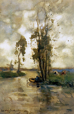 Weissenbruch Jan Fisherman in polder landscape Sun