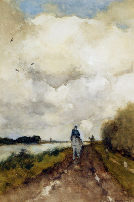 Weissenbruch Jan Horseman on path near Noorden Sun