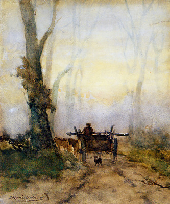 Weissenbruch Jan Man on a cart in wood Sun