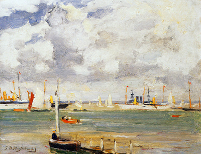 Weissenbruch Jan Ships in harbour Sun
