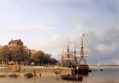 Weissenbruch Jan Ships on a quay Sun