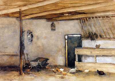 Weissenbruch Jan Stable with chickens Sun