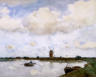 Weissenbruch Johannes Hendrik Mill at the lake Sun