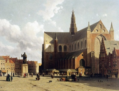 Weissenbruch Johannes Jan View on the market of Haarlem Sun
