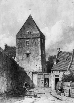 Weissenbruch Johannes The Goilberdingenpoort in Culemborg Su