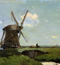 Weissenbruch Hendrik Johannes Mill in landscape Sun