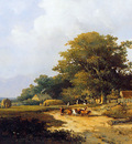 Weissenbruch Jan Farmer with herd on countryroad Sun