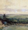 Weissenbruch Jan Landscape with mills Sun
