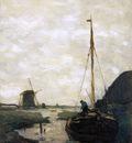 Weissenbruch Jan Ship in polder canal Sun