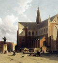Weissenbruch Johannes Jan View on the market of Haarlem Sun